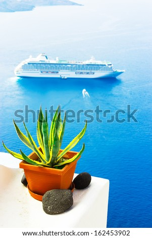 Pot with decorative plant on a balcony with cruise ship at the background - stock photo