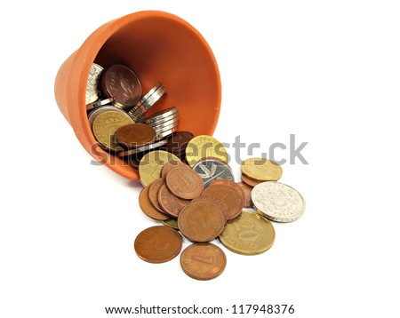 pot with different Latvian coins on a white background