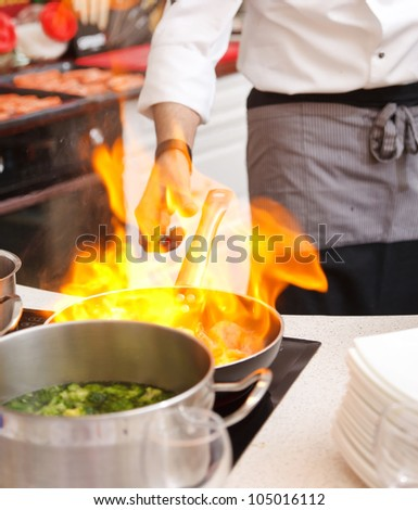 pot with fire - stock photo