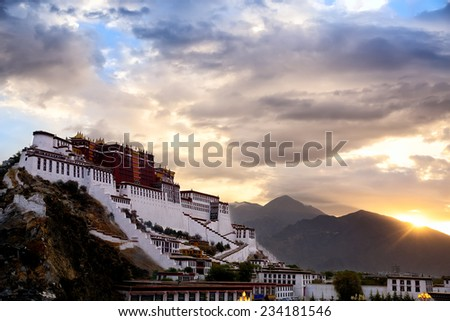 Potala Palace at sunrise, Lhasa, Tibet - stock photo