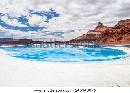 Potash pond on white rim trail in Canyonlands National Park, Utah, USA - stock photo