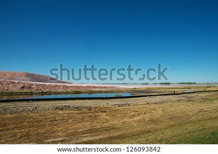 Potash Tailings and Pond - stock photo