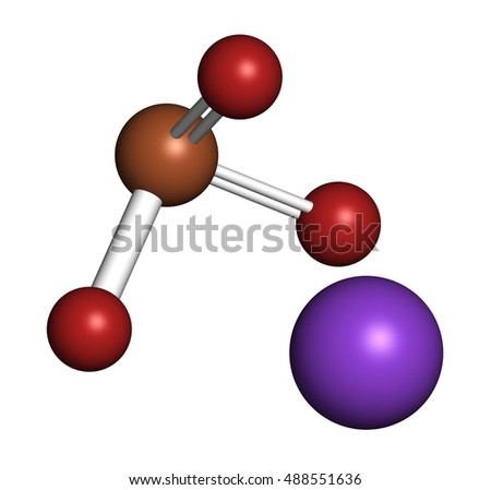 Potassium bromate (KBrO3, E924). Used as additive to flour in the baking of bread. 3D rendering. Atoms are represented as spheres with conventional color coding: oxygen (red), potassium (purple), etc