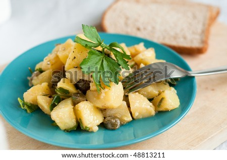 Potato and capers salad on the plate - stock photo