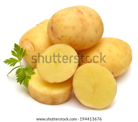 Potato and parsley isolated on white background