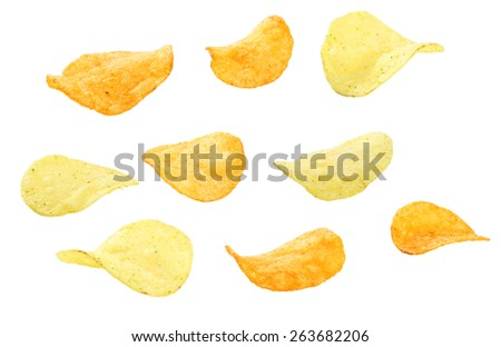 Potato chip isolated on white - stock photo