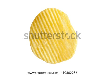 potato chip on white background close-up