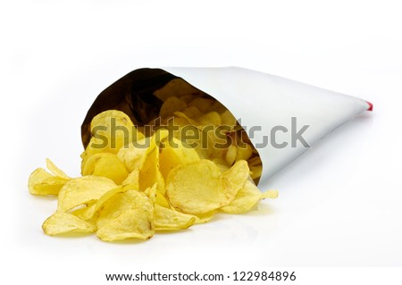 Potato chips bag - stock photo