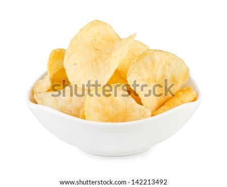 Potato chips bowl isolated on white - stock photo