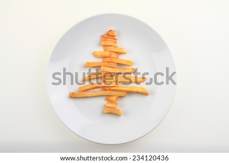 potato chips christmas tree isolated on the white background - stock photo
