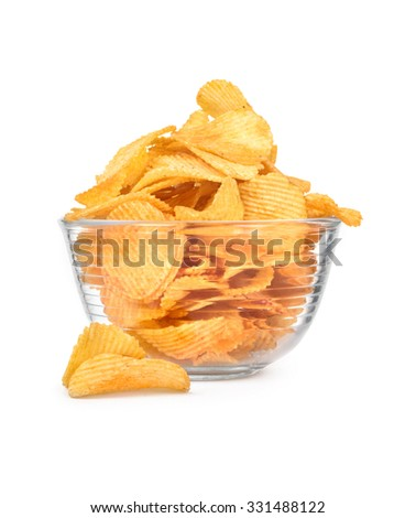 Potato chips in a bowl isolated on white - stock photo