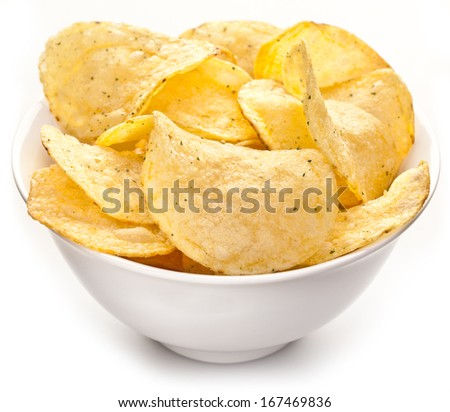 Potato chips in a bowl on a white background. - stock photo