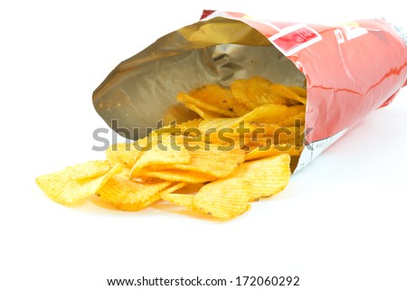 potato chips in bag open on white background, Barbecue, BBQ  - stock photo