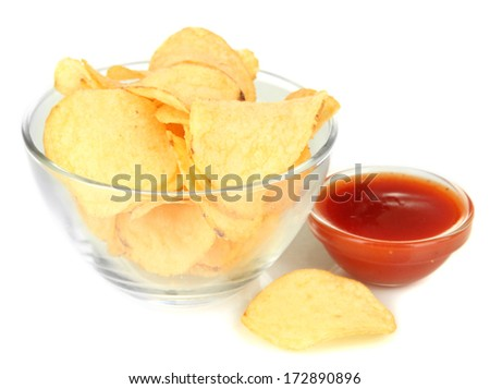 Potato chips in glass bowl and sauce, isolated on white