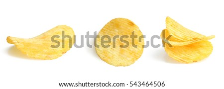 Potato chips isolated on white background.