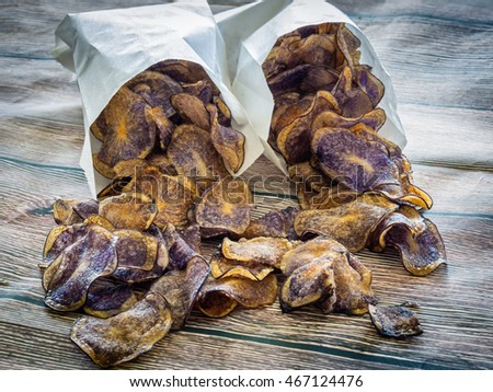 Potato chips made from blue potatoes