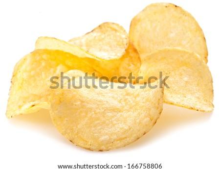 Potato chips on a white background. - stock photo