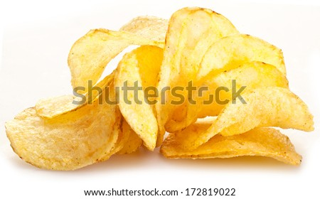 Potato chips on a white background. - stock photo