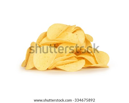 potato chips on white background - stock photo