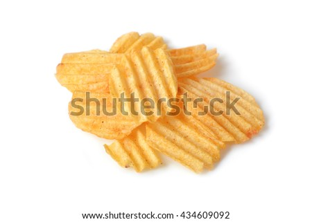 Potato chips on white background - isolated