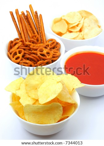 potato chips, snacks and salsa dip