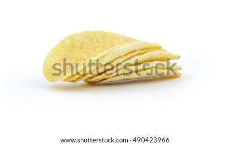 Potato chips stack isolated on white background. Clipping path included in jpg.
