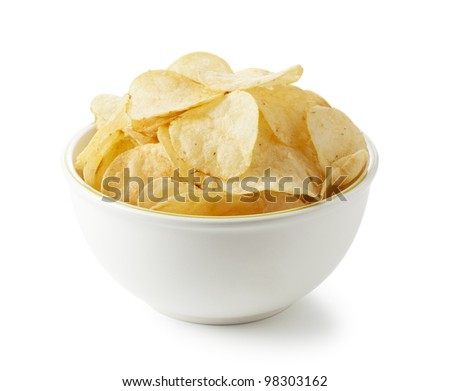 Potato chips were placed on a white background - stock photo