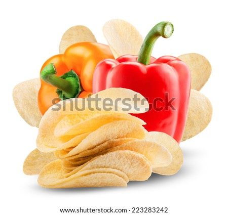 Potato chips with paprika on white background. Clipping Path - stock photo