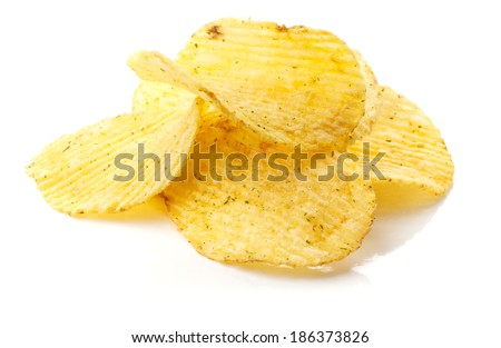 Potato chips with spice isolated on white background - stock photo