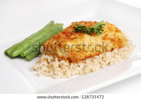 Potato Crusted Cod over Brown Rice (focus on front edge of food) - stock photo