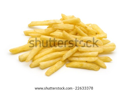 potato fry on white background