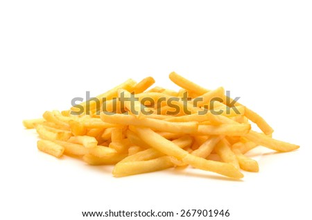 potato fry on white isolated background - stock photo