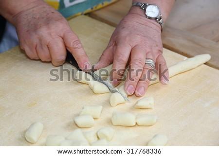 potato gnocchi cooking Italian food typical Emilian - stock photo