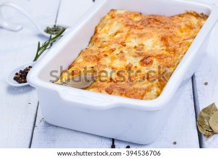 Potato gratin with cheese - stock photo