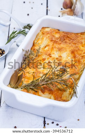 Potato gratin with cheese - stock photo