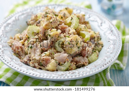 Potato salad wth celery and smoked mackerel - stock photo