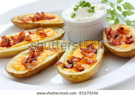 potato skins , casual dining appetizer - stock photo