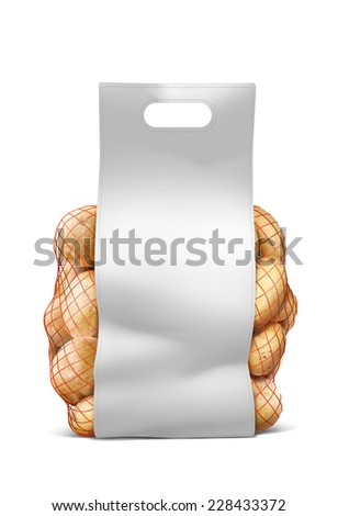 Potato string paper bag with blank label on white background - stock photo