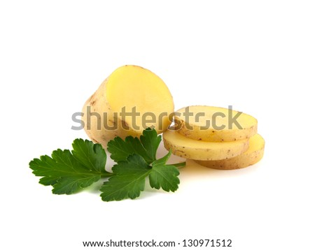Potato with slices and green parsley isolated on white background