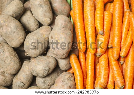 potatoes and carrots - stock photo