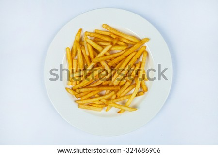 Potatoes fries in the plate isolated on white. French fries.Sweet potatoes sliced, fried with spices - stock photo