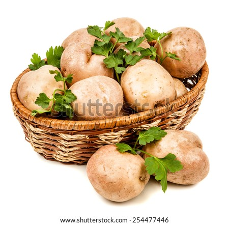 potatoes in a basket isolated on a white background - stock photo
