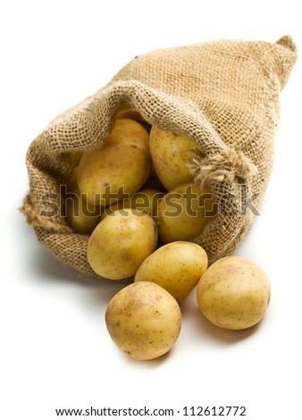 potatoes in burlap sack on white background - stock photo