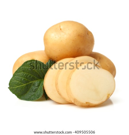 Potatoes on a white background - stock photo
