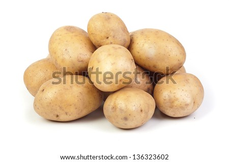 potatoes on white - stock photo