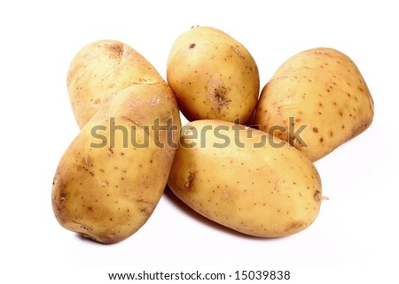 potatoes on white background close up shoot