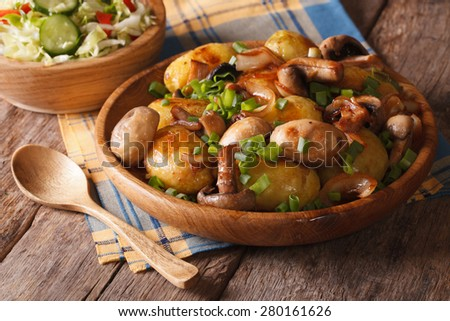 Potatoes with mushrooms close up in a bowl, and salad. horizontal, rustic style  - stock photo