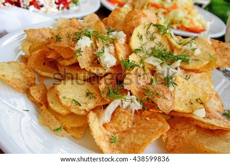 Potatos with grilc and dill - stock photo