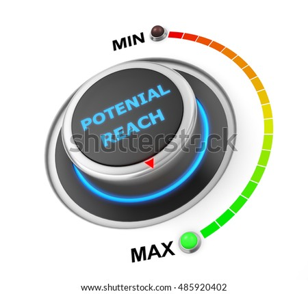 potenial reach button position. Concept image for illustration of potenial reach in the highest position , 3d rendering