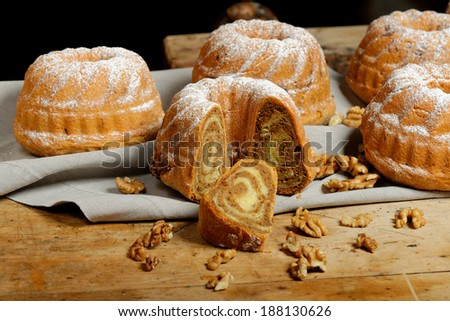 Potica/Potizza, Roll with walnuts  - stock photo
